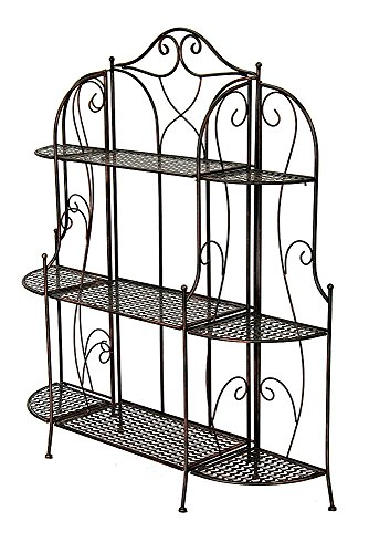 Heather Ann Creations Alexander Collection Contemporary Style Ornate Steel 3 Shelf Bakers Rack, Black/Gold (Unit Ann Wall)