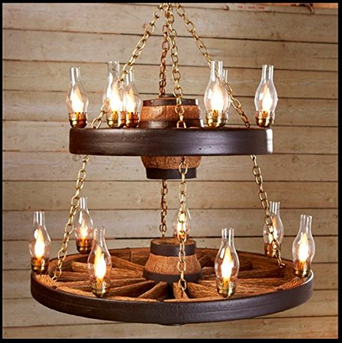 Wagon Wheel Chandelier - Rustic Antique Vintage Ceiling Pendant Light - Lightweight and Durable - Authentic Looks - Premium Quality - 11 Chimney Lights - Dry Locations - Internal Wiring - 2 Tier