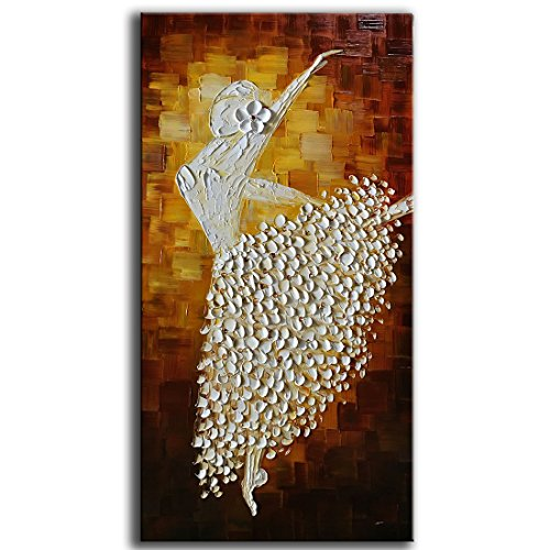 YaSheng Art - Contemporary Art Ballet girl Dancers Oil painting On Canvas Texture Palette Knife Hand-painted Abstract Painting Modern Home Interior Decor Wall Art picture Ready to Hang 20x40inch - Home Interior Decor