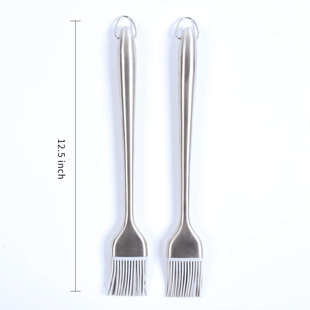 grill Basting Brush for Sauce marination Butter Desserts Pastry Baking Barbecue with High Temperature Resistance,Stainless Steel Handle with Silicone Bristles set of 2 12.5inch L/&S