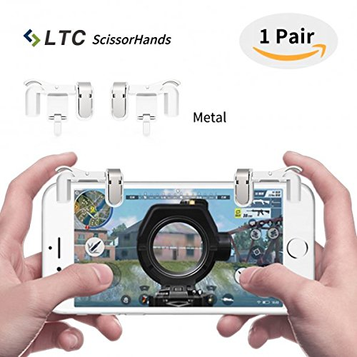LTC M2 ScissorHands Mobile Game Trigger with Metal Buttons, Sensitive Shoot and Aim L1R1 Mobile Game Joysticks for PUBG/Rules of Survival, Fit for Android or IOS SmartphoneWhite