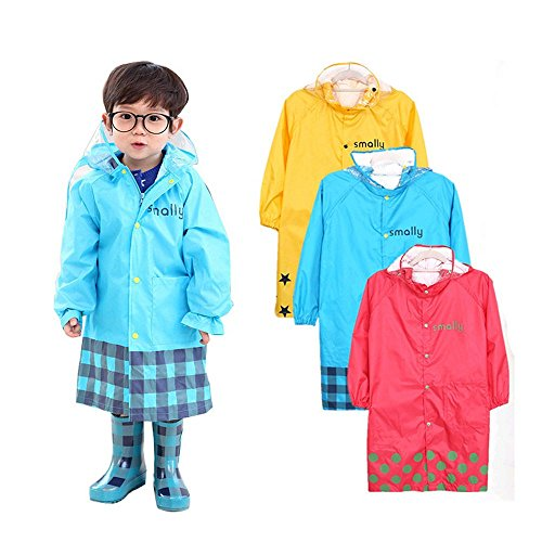 Ezyoutdoor Children's Raincoat for ages 3-8,Waterproof Hooded Coat Jacket Outwear Hoodies(random color)