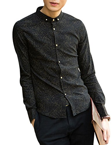 VENTELAN Men's Long Sleeve Floral Casual Personalized Korean Stand Collar Shirt