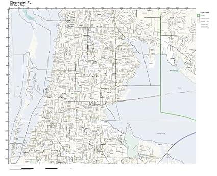 Amazon Com Zip Code Wall Map Of Clearwater Fl Zip Code Map