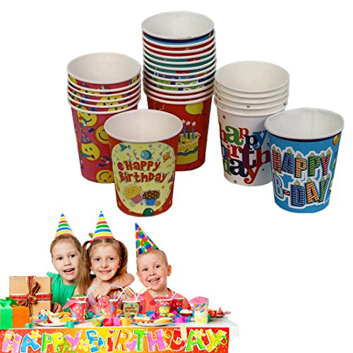 Disposable Birthday Party Cups - 25 Pack - Combination of Designs & Colors - Hot Or Cold - 8 oz - By Dazzling Toys