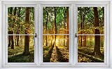 24'' Window Landscape Scene Instant Nature View FOREST TREES at SUNSET #1 WHITE CLOSED Wall Sticker Room Decal Home Office Art Décor Den Mural Man Cave Graphic SMALL