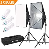 "MOUNTDOG 1350W Photography Softbox Lighting Kit 20""X28"" Professional Continuous Light System with 3pcs E27 Video Bulbs 5500K Photo Studio Equipment for Filming Model Portraits Advertising Shooting"
