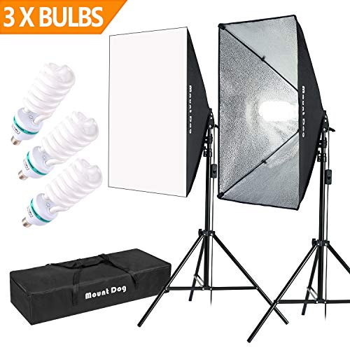 1350W Photography Softbox Lighting Kit 20'X28' Professional Continuous Light System with 3pcs E27 Video Bulbs by MOUNTDOG Photo Studio Equipment for Filming Model Portraits Advertising Shooting