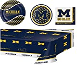University of Michigan Party Bundle: 8 Dinner Plates, 8 Lunch Plates, 20 Lunch Napkins, And Plastic Tablecloth