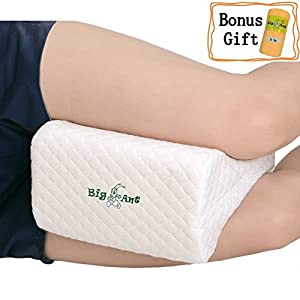 Big Ant Knee Pillow Orthopedic Leg Pillow Designed for Side Sleepers,Leg,Pregnancy,Back, Hip Pain Relief-Comfortable Memory Foam Knee Support Pillow with Breathable Washable Cover
