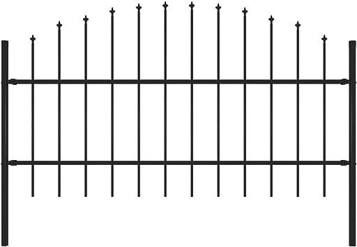 vidaXL Valla de Jardín con Puntas Acero Cercado Metálico Paneles Valla Barrera Perimetral Segura Ocultación Decorativa Estable Negro (0.5-1) x1.7m: Amazon.es: Bricolaje y herramientas