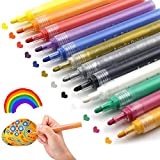#8: Acrylic Paint Pens for Rocks Painting, Ceramic, Glass, Wood, Fabric, Canvas, Mugs, DIY Craft Making Supplies. Water-Based Acrylic Paint Marker Pens Permanent. 12 Colors/Set