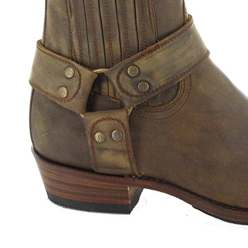 de Boots Sendra 8286 Lavado marrón cuero Biker unisex Tang Boots xvgaqngwH