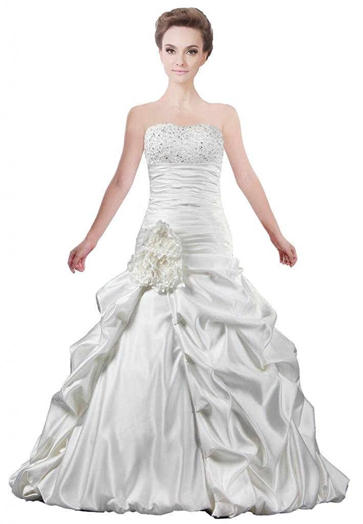 Ants Womens Satin Flower A Line Bridal Gowns Without Train Wedding