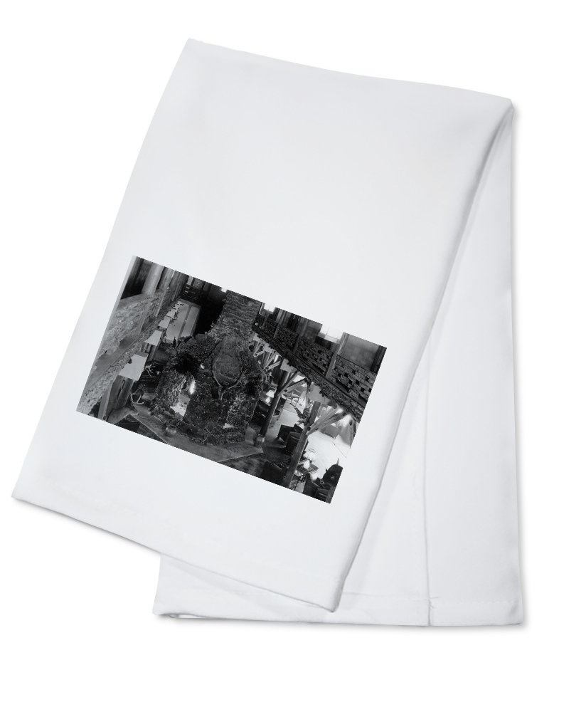 June Lake, California - Interior View of June Lodge Four-Sided Fireplace (100% Cotton Kitchen Towel)