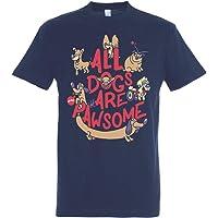 All Dogs Are Pawsome T-Shirt - Hund - Humor - 100% Baumwolle- hochwertiger Siebdruck.