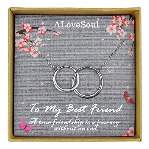 ALoveSoul Best Friend Necklace - Sterling Silver Two Interlocking Infinity Double Circles Friendship Necklace, Friendship Gifts for Women, Birthday Gift