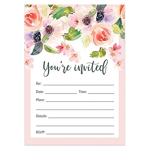 25 Floral Invitations with Envelopes (Pack of 25) Baby Shower, Wedding, Fill in, Bridal Shower, Rehearsal Dinner Invites, Engagement, Anniversary, Graduation, Birthday Party Excellent Value ()