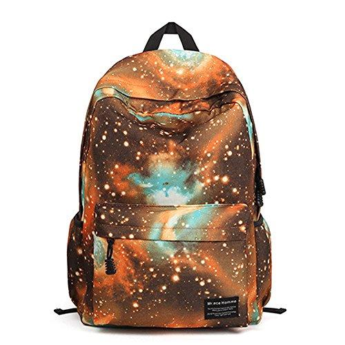 Minetom Universo Estrellas Nebulosa Nylon Backpack Mochilas Escolares Mochila Escolar Casual Bolsa Viaje Moda Naranja