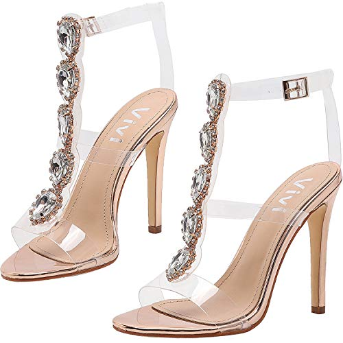 - Vivi Womens Gold Peep Toe Ankle Strap Buckle Rhinestones Clear Stiletto High Heels Size 8