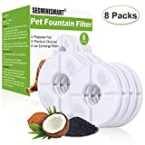SEGMINISMART Pet Fountain Filter,Cat Water Fountain Filter,Carbon Replacement Filters for Pet Fountain,Cat and Dog Automatic Flower Water Dispenser(Pack of 8)