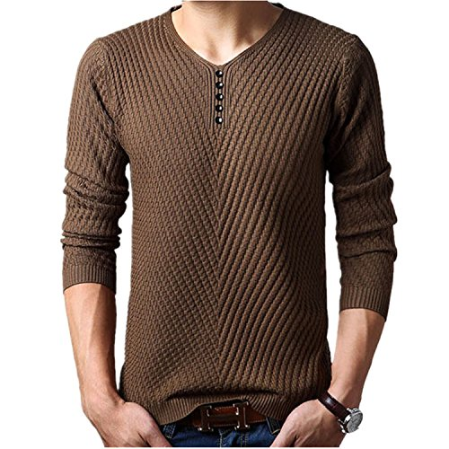 Shengdada Modern 2016 New Winter Henley Neck Sweater Men Cashmere Pullover Christmas Sweater Mens Knitted Sweaters Pull Homme Jersey Hombre (Cashmere Henley Sweater)
