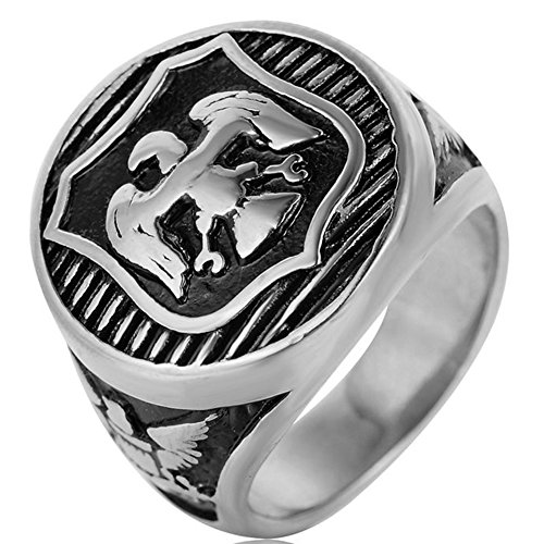 SAINTHERO Men's Vintage Stainless Steel Band Rings Eagle Carved Military Round Signet Punk Biker Rings Silver Black Size ()