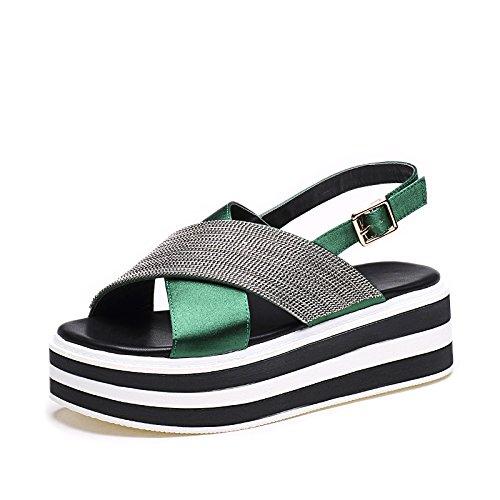 ZPPZZP Ms sandali in stile romano scanalato estate uno studente tempo libero con il verde 36EU