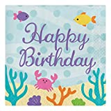 Creative Converting 317262 64 Count Paper Lunch Napkins, Happy Birthday, Mermaid Friends (Party Pack)