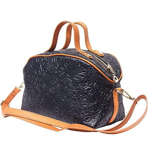 Bolsa de maquillaje de cuero con correa larga 301 Negro-tostado