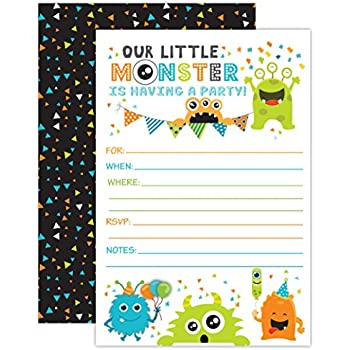 Amazoncom Monster Themed Party Invitations Fill In Style 20