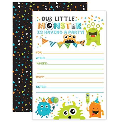 Monster Birthday Invitations, Little Monster Birthday Party Invites, 20 Fill In Monster Party Invitations With Envelopes ()