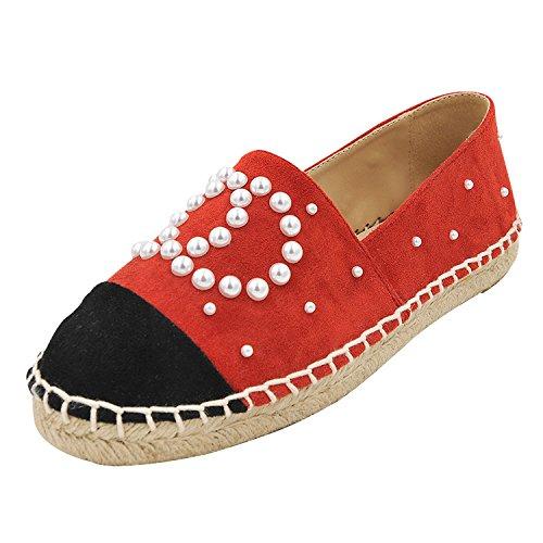 perla fragrante scarpe pigro 37 ossa decorato ossa lazy scarpe A Rosso con FONDO a scarpe paglia perla piatto vento fondo tonda PIATTO di donna piccolo testa singola 7fq6w8t