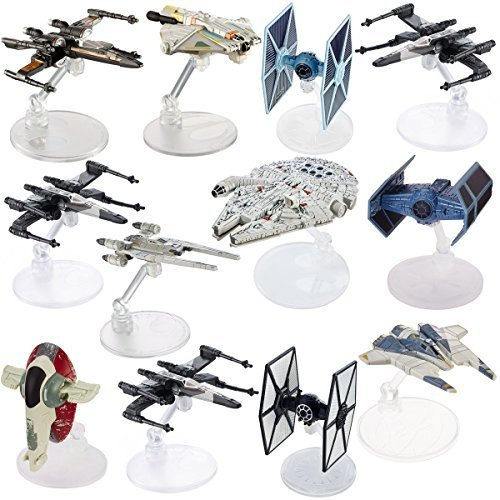 Star Wars (12 Pack) Hot Wheels Spaceship Models Toys Set Figures & Stands Mattel (Wars Star Ship Toy)