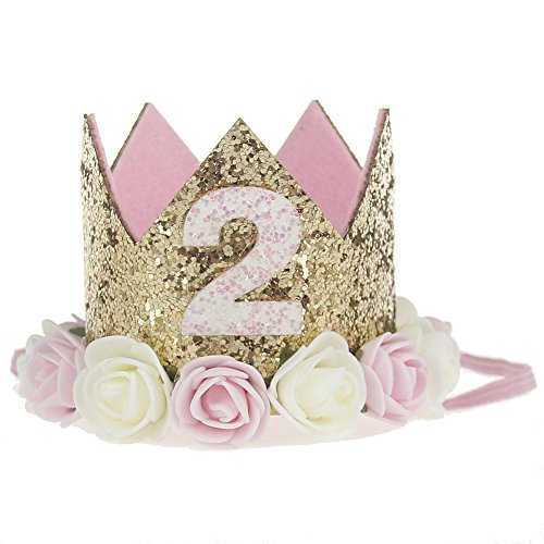 Baby Princess Tiara Crown, Baby Girls/ Kids 2 years old Birthday Hat Sparkle Gold Flower Style with Artificial Rose Flower (2st Golden Crown)