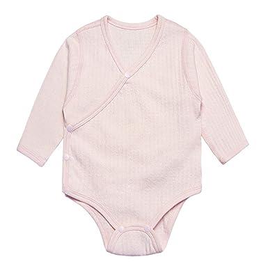 76563b593 Amazon.com: Enfants Chéris Unisex Baby Long Sleeve Onesies Organic Kimono  Style Romper Newborn Bodysuit: Clothing
