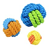 PAWABOO Dog Chew Knot Ball, [3Pack] Pet Dog Chewing Ball Toys Dog Teeth Cleaning Balls Bite Resistant Cotton and Rubber Weave Knots Dog Rope Toys for Small and Medium Dogs, Colorful