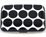 Latest Aluminum RFID Blocking Credit Card Holder for Men Women - Stylish Travel Wallet - Best protection for Bank Debit, ID, ATM, Cards Black Dots Print
