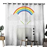 duommhome Vintage Rainbow Printed Curtain Old TV with Raining Clouds on Antennas Broadcast Entertainment Technology Darkening and Thermal Insulating W120 x L84 Multicolor