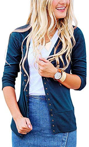 Basic Faith Women's S-3XL V-Neck Button Down Knitwear Long Sleeve Soft Knit Casual Cardigan Sweater Quarter Sleeve Navy - Quarter Sleeve Button Down