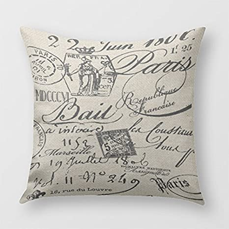 Incredible Hl Hlppc French Script Pillow Cover Polyester Cushion Case For Sofa Or Bedroom 18 X 18 Inches Ibusinesslaw Wood Chair Design Ideas Ibusinesslaworg