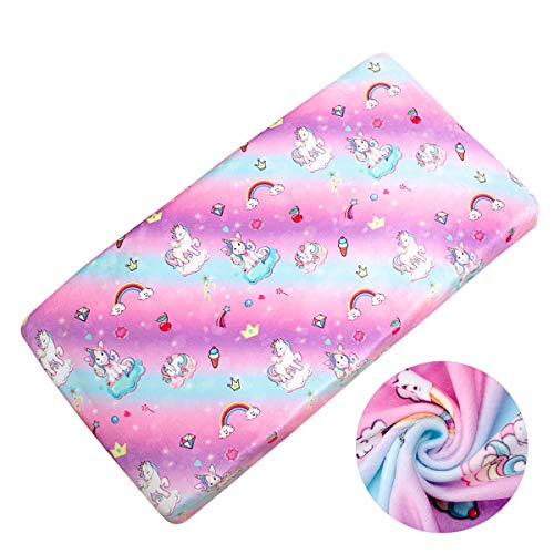 Nidoul Unicorn Changing Pad Cover, Ultra Soft Stretchy Fabric Cradle Sheet for Baby Boys Girls, Fits Standard 16 x 32 Contoured Changing Table Pads, Colorful Rainbow Printing