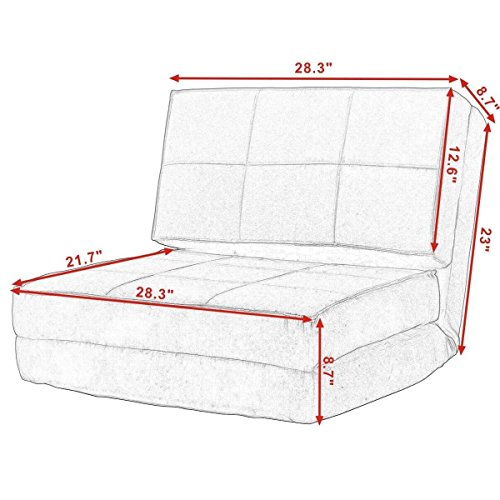 New Fold Down Chair Flip Out Lounger Convertible Sleeper Bed Couch Game Dorm Guest