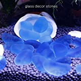 SpringSmart Colorful Aquarium Decorative Glass Rocks, Amazing Decor Stones Substrate Fish Tank, Fishbowl, Vase, Potted Plant, Non-Toxic No Discoloration Glass Marbles (Clear Blue(90pcs))