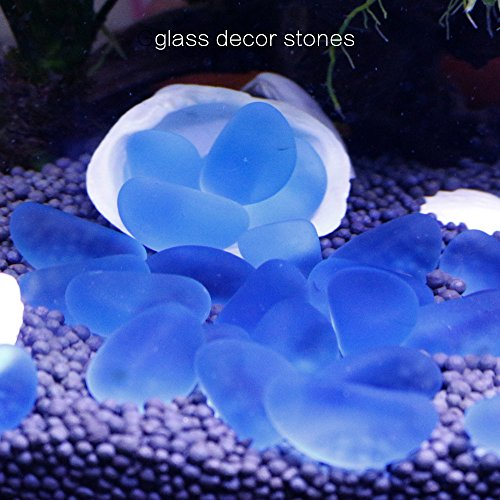 SpringSmart Colorful Aquarium Decorative Glass Rocks, Amazing Decor Stones Substrate for Fish Tank, Fishbowl, Vase, Potted Plant, Non-toxic No Discoloration Glass Marbles (Clear (Frosted Rocks Glass)