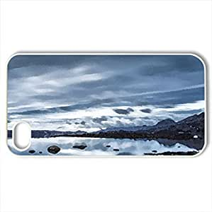 beautiful lake kleifarvatn in iceland - Case Cover for iPhone 4 and 4s (Lakes Series, Watercolor style, White)