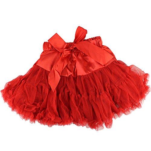 Baby Kids Girls Dancewear Chiffon Tutu Full Pettiskirt Princess Skirt Classic Triple 1-8y (6-8 years, red)