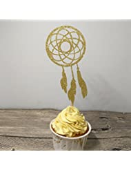 Giuffi Set of 24 Gold Dream Catcher Cupcake Toppers Kids' Party Picks - by