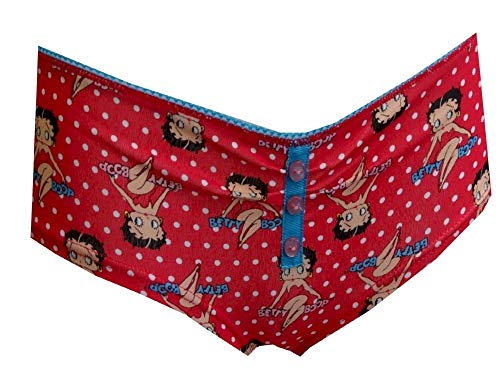 Betty Boop Women's Red Polka-Dot Boy Short Panty (Small)