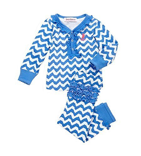 (Juicy Couture Baby Girls' 2 Piece Loungewear Set (Blue/White) (3-6 Months))